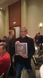 Roger Sharpe with the Buffalo Pinball Artvoice cover story at Pinball Expo 2014 in Chicago.