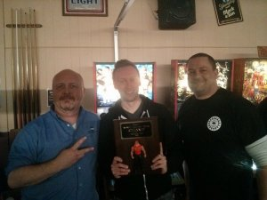 Wrestlemania launch tournament winners (L to R): Bruce Nightingale, second place; Nick Lane, first place; Jeff Wirth, third place.