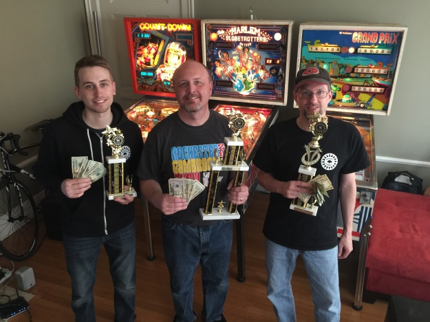 Winners of the Buffalo Pinball Open (L to R): Joe Lane, third; Bruce Nightingale, first; Bret Wallace, second.