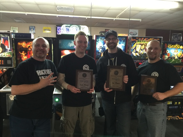 Make-A-Wish fundraiser tournament winners (L to R): Bruce Nightingale, fourth; Nick Lane, second; Kevin Manne, first; Dave Romanowski, third.
